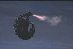 Godzilla uses his atomic breathe to propel him into the air.