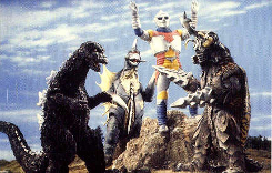 Godzilla, Gigan, Jet Jaguar, and Megalon