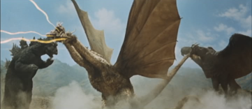 Godzilla, Ghidorah and Rodan fighting